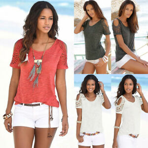 UK Womens Ladies Short Sleeve Holiday Cold Shoulder Tee Shirt Hollow Blouse Tops
