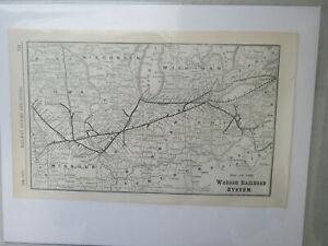 Original Vintage Map of the Wabash Railroad System - 1910