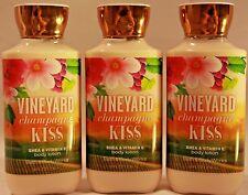 LOT OF 3 BATH & BODY WORKS VINEYARD CHAMPAGNE KISS SHEA & VITAMIN E BODY LOTION