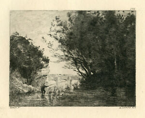 Jean-Baptiste Corot etching printed in 1873 - The Fisher