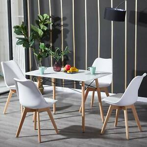 Rechteckig Esstisch mit 4 x Stühle Weiß, Esszimmergruppe mit Küchenstuhl Holz