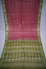 Vintage Silver 100% Pure Tussar Silk Sari Flower Print Border Decor Saree Decor