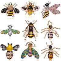 Sweet Honeybee Crystal Pearl Enamel Insect Bee Brooch Pin Women Costume Jewelry