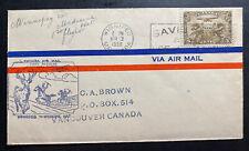 1930 Winnipeg  Canada Airmail First Flight Cover FFC To Medicine Hat