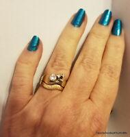 Vintage Wedding Band & Diamond Engagement Ring Set  Size 7
