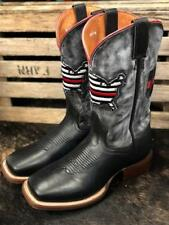 Dan Post Men's Thin Red Line Black Leather Square Toe Western Boots DP4514 SALE!