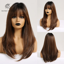 Long Straight Synthetic Hair Wigs With Bangs Ombre Brown Natural Daily Women Wig