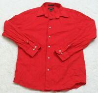 Express Red Stretch Dress Shirt Cotton Lycra Long Sleeve Mans Button Up Large