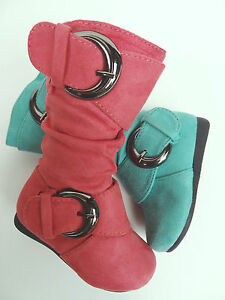 Toddler Flat Slouchy Mid Calf Casual Dress Boots Coral & Green Mint Sizes 4-8 US