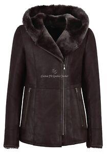 Ladies B3 Shearling Jacket Dark Berry Hooded Real Sheepskin Long Jacket  NV 39