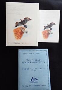 1994 BIRDS of AUSTRALIA EAGLE $10 SILVER COIN in WALLET MELBOURNE COIN FAIR