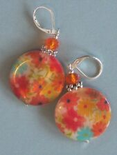 summer flowers MOTHER OF PEARL & crystal earring SP LEVERBACK artisan