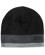 $199 HUGO BOSS Men UNISEX BLACK WOOL LOGO WINTER CASUAL WARM CAP HAT BEANIE O/S