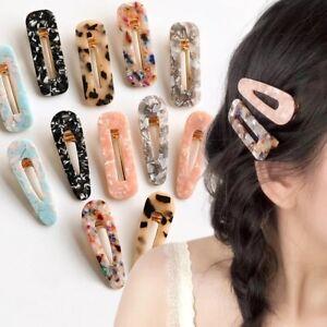 2PCS Women Acrylic Hair Slide Clips Snap Barrettes Hairpin Pins Hair Accessories