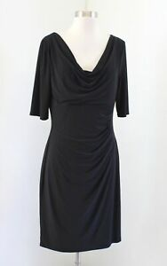 Lauren Ralph Lauren Solid Black Weighted Draped Neck Ruched Wiggle Dress Size 12