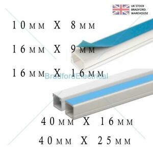 Self Adhesive Mini Cable Trunking 3M White Brown PVC Cable Tidy Conduit TV Wire