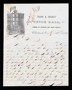 ISAAC A. ISAACS UNION HALL ILLUSTRATED LETTERHEAD - CIVIL WAR ERA JUDAICA 1863