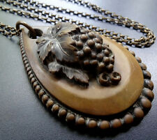 antique Victorian grape vine vulcanite cameo pendant chain necklace -C383