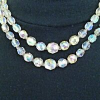 VINTAGE DOUBLE ROW AURORA BOREALIS CRYSTAL NECKLACE