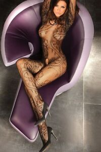 Sexy Body Stocking Bodysuit Open Crotch Lace Floral Long Sleeve Women's Lingerie