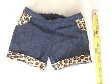 "Denim w Tiger Print BUILD A BEAR 6X7"" Shorts (laying flat) Doll Clothes"