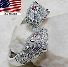 Panther 2CT Ruby & White Topaz 925 Solid Sterling Silver Ring Jewelry Sz 8, PO2