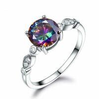 Damenring Echt Silber 925 Ring Regenbogen Topas Smaragd Saphir Stein Silberring.