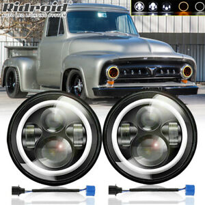"""7"""" Halo LED Headlights w/ Halo Ring For 1953-1977 Ford F-100 F-250 F-350 Pickup"""