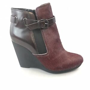 Clarks Burgundy Leather Pony Hair Ankle Zip Up Wedge Booties Boots Size UK3 D