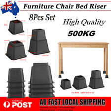 8PCS Black Bed Risers Furniture Table Chair Extra Riser Stand 500KG High Quality