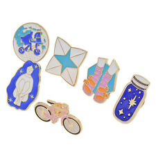 6 Pcs Shirt Dress Corsage Brooch Collar Pin Shoes Bike Wishing Bottle Cycling