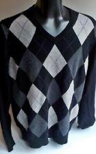 APT 9 100% Cashmere V-neck Argyle Sweater Black/Gray SZ XL