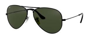 Ray-Ban RB 3025 L2823 Aviator Sunglasses Black-Green / G15 Glass Lens 58mm