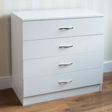 Riano Chest of 4 Drawers White Wood Bedroom Clothes Garment Storage Unit