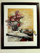 CLARINET INSTRUMENT PICTURE MUSIC BOOKS VASE FLOWERS FLORAL FRAMED PRINT 16X20