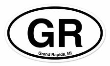 "GR Grand Rapids MI Oval car window bumper sticker decal 5"" x 3"""