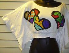 Top Size Medium SEXY Sequins Sweet-HEART Dolman Sleeve Shortie Crop T Shirt 504