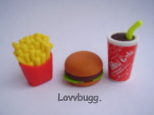 Fast Food Meal Hamburger Fries Shake for American Girl or Wellie Wisher Doll 🐞