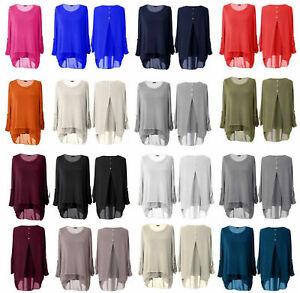 New Women Ladies Split Back High Low Lagenlook Top High Low Tunic Top Plus Sizes