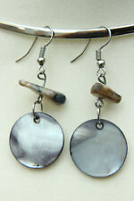 """Lovely SILVER PEARL Polished SHELL DIsc & Chip Dangle Hook EARRINGS 2.2"""" 56mm"""