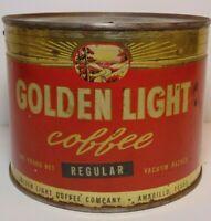 Old Vintage 1930s GOLDEN LIGHT COFFEE TIN GRAPHIC 1 ONE POUND AMARILLO TEXAS TX