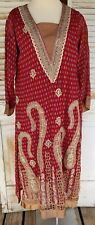 Vtg Moroccan Caftan Ethnic Hippie BOHO Embroidered Caftan Tunic Dress
