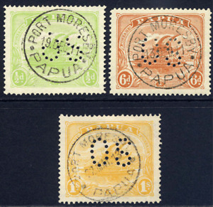 PAPUA 1911-12 OFFICIAL LAKATOI ½D, 6D & 1/- SUPERB PORT MORESBY CDS USED