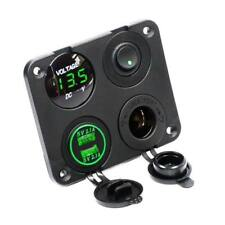 12V Truck Boat Car Green LED Voltmeter Dual USB Power Socket Outlet Panel Switch