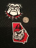 (2) UGA GEORGIA BULLDOGS VINTAGE Embroidered Iron On Patches patch lot