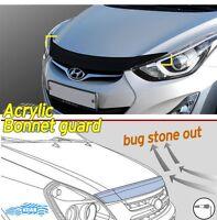 Acrylic Front Bonnet HoodGuard Deflector Black D-653 for Hyundai ELANTRA 2011~16