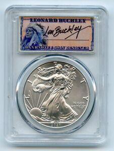 2021 $1 American Silver Eagle Type 1 PCGS MS70 FDOI Leonard Buckley