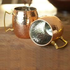 New 18oz Moscow Mule Mug Hammered Copper Plated Stainless Steel Set Mugs