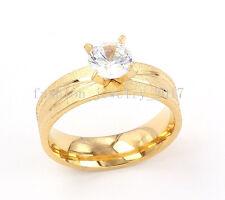 Wholesale Lot 5Pcs Wedding Rings Women 18K Gold Stainless Steel Crystal CZ FREE