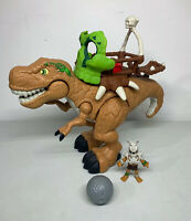 Fisher Price Imaginext Roaring T-Rex Dinosaur Figure With Catapult & Rider Works